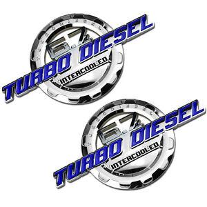2 PC BLUE/CHROME 6.7 TURBO DIESEL MOTOR BADGE FOR TRUNK HOOD DOOR TAILGATE B