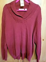 PRIA Womens Plus Size 3X Burgundy V-Neck Pullover Long Sleeve Sweater