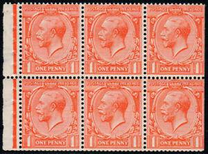 1924 KGV Block Cypher 1d Scarlet Booklet Pane U/M Wmk Inverted SG Spec NB13a