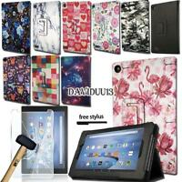 Leather Stand Cover Case With Tempered Glass Screen Protector For Amazon Fire 7""