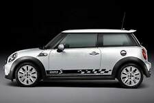 Mini Cooper S Car Sticker, Checker Flag Side Stripe Custom Graphic Decal