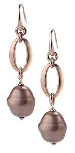 Authentic JOIA De Majorca Mauve Barrel Pearl Hook Earrings With Oval Links
