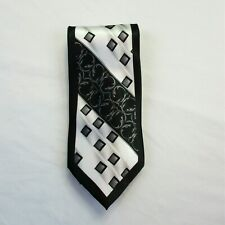 Veronelli by Karl Knox Inc Men's Silk Blend Tie Classic Length Black White Gray