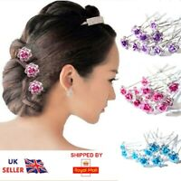 20 Stunning Diamante Floral Hair Pins Bridal Wedding Available In Many Colors UK