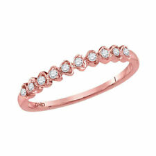14kt Rose Gold Womens Round Diamond Heart Stackable Band Ring 1/10 Cttw