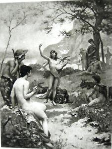 Mythology NUDE WOMEN GIRLS & NAKED BOY MALE MAN ORPHEUS ~ 1892 Art Print Gravure
