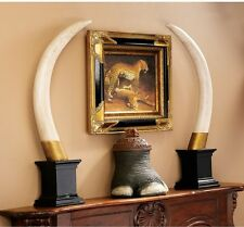 Exotic Elephant Tusk Big Game Hunter's Trophy Sculpture Pachyderm
