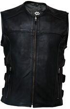 Mens Leather Motorcycle Vest Biker Waistcoat Perforated Leather Jacket Cowhide