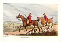 FOX HUNTING, GOING TO COVER, HOUNDS HUNTSMAN, 1903 COLOR SPORTING PRINT FOXHOUND