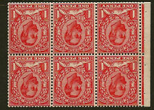 GB BOOKLET PANE :1912 1d Pale Scarlet Die 1B inverted wmk  SG SP NB5a unmint
