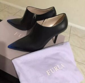 Brand New Furla Black Ankle Leather Heel Boots Size 38 Fit 37 Made In Italy $749