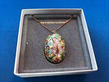 Vintage Cloisonne Egg Pendant Sterling Silver Necklace Chain