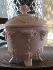 Jeannette Pink Milk Glass, Covered Candy - Grapes, Excellent Condition