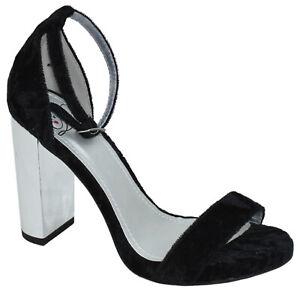 Delicious Women Thick High Heels Ankle Strap Open Peep Toe Black Velvet SHINY-S