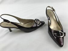 ANNE KLEIN Womens Size 10M Burgundy Patent Leather Slingback Kitten Heels Shoes