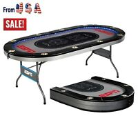 ESPN 10 Player Premium Foldable Poker Table With In-Laid Built LED Lights, Gray