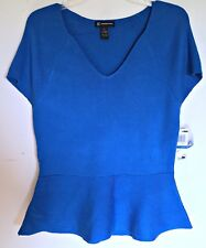 INC International Concept Ribbed V-Neck Peplum Flare Sweater Top Blue Stretch XL