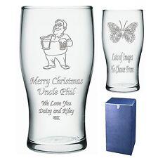 Grabado Pint Glass tío hermano Sobrino Regalo De Navidad-presente-IMI