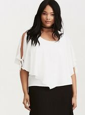 Torrid Ivory Layered Crepe Cold Shoulder Top 1x