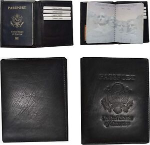 Lot of 4 leather Passport cover Unbranded Black Credit card ID case wallet #95
