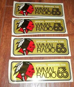 Vintage Lot 4 WMAL RADIO Official Redskins Fan Washington Decals