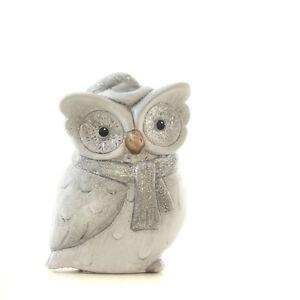 Süße Wintereule mit Schal & Mütze Eule Grau Keramik Dekoeule Uhu Owl Höhe 16 cm
