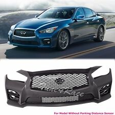 For 14-Up Infiniti Q50 Front Bumper Red Sport 400 W/ Grille NO PDC JDM Style ADN