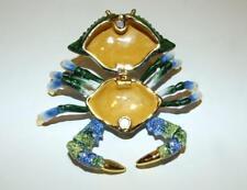 Blue & Green Crab Bejeweled Swarovski Enamel Hinged Trinket Box
