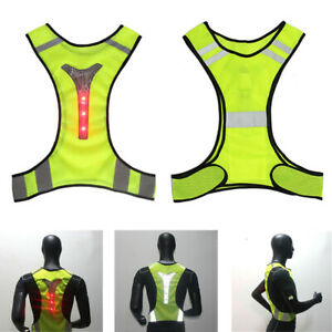 FLASHING LED LIGHTING SAFETY REFLECTIVE VEST RUNNING CYCLING NIGHT VEST FADDISH