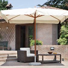 Ombrellone da esterno in legno con palo centrale 4x3 mt Delux doppia carrucola