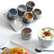 Herb Pepper Salt Spice Jars Flavoring Container Stainless Steel Magnetic Tins