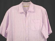 TOMMY BAHAMA 100% Linen Camp Shirt Lilac Tropical Aloha Hawaiian Sz L