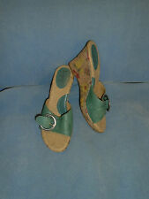 Women's Born Concept Teal Leather Open Toe Wedge Heel Sandal Size 9 M