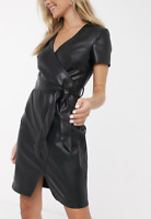 Women Genuine Leather Black Dress Short Bodycon High Waist With Belt Wrap Dress