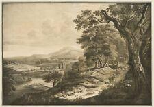 Schäferidyll in italienischer Landschaft. Litho über Tongrund ,  aufgezogen