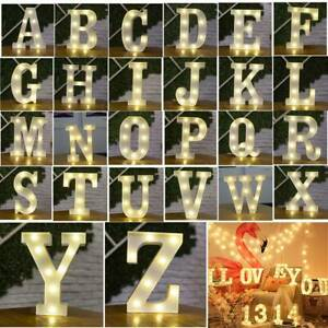ALPHABET LED LETTERS LIGHT UP NUMBERS WHITE PLASTIC LETTERS STANDING DECOR  new