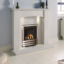 WHITE MARBLE STONE CURVED GAS SURROUND CHROME FIRE FIREPLACE SUITE DOWNLIGHTS