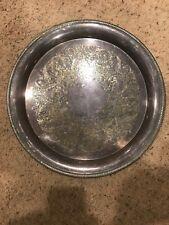 "Castleton International Silver Company 14"" Platter #672 w Etched Floral Designs"