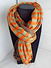 Double loop infinity scarf striped melon solid brown donut jersey Look by M