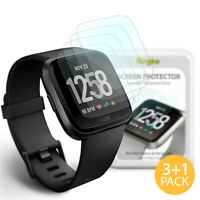 [4 Pack] For Fitbit Versa | Ringke ID Tempered Glass Screen Protector HD Clear