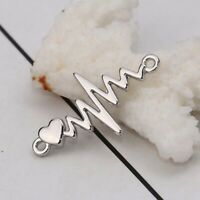P/D: 10 Stück Zinklegierung Verbinder Herzschlag Elektrokardiogramm Verbinder