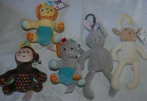 Pram Teddy Ring Unicorn Cute Cuddly Toy Baby Rattle Lion Boys Girls Babies