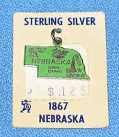 Vintage 1960's Travel Souvenir Sterling & Enamel Charm - Nebraska - NOS
