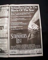 Best SCHINDLER'S LIST Jewish Holocaust Film Movie Opening Day AD 1993 Newspaper
