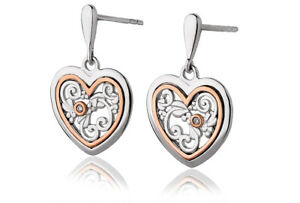 NEW Welsh Clogau Silver & Rose Gold Tree of Life One Diamond Earrings £80 off!