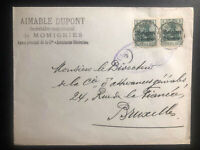 1910s Momignies Belgium German Occupation Cover To Bruxelles