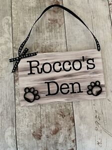 Personalised Rustic Dog Pet Sign Plaque Dogs Den Hanging Paw Print Hand Painted