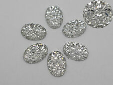 100 Clear Glitter Flatback Resin Oval Cabochon Pyramid Dotted Rhinestone 10X14mm