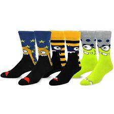 TeeHee Novelty Cotton Fun Crew Socks 3-Pack (Monsters) Star Striped Dots