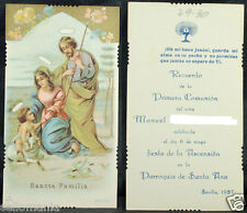 OLD BLESSED SACRED FAMILY FIRST COMMUNION 1937 HOLY CARD ANDACHTSBILD  SHOP C990